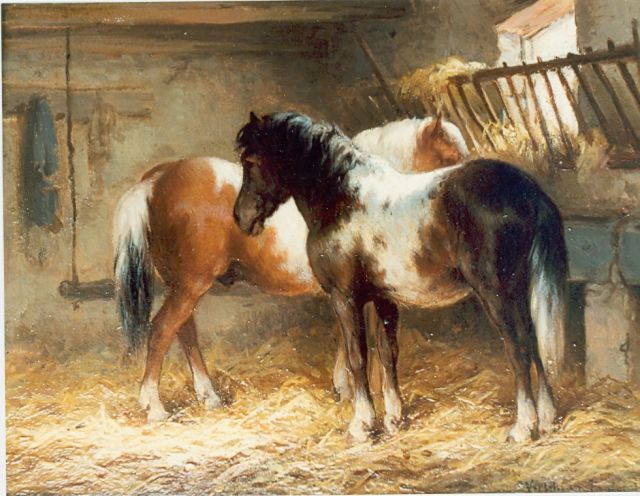 Wouter Verschuur jr. | Horses in a stable, oil on panel, 15.0 x 20.0 cm, signed l.r.