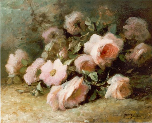 Piet Schipperus | Still life with pink roses, oil on panel, 29.5 x 38.7 cm, signed l.r. and signed 1915