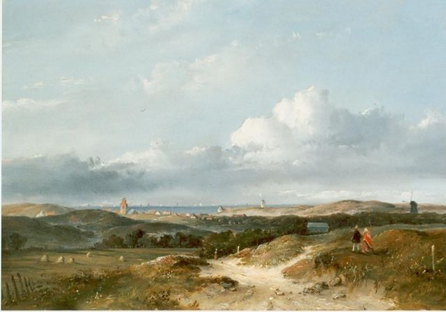 Josephus Gerardus Hans | Panoramic landscape, Katwijk aan Zee in the distance, oil on panel, 26.0 x 34.7 cm, signed l.r.