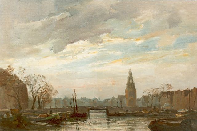 David Schulman | View of the Montelbaanstoren, Amsterdam, oil on canvas, 40.5 x 60.0 cm, signed l.l.