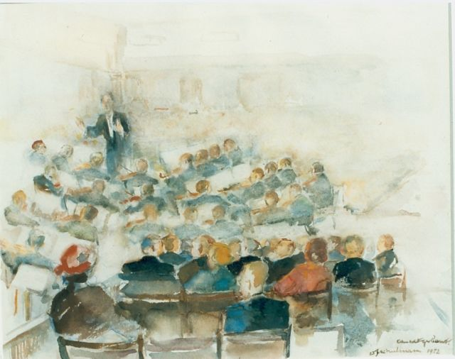 David Schulman | Concert hall, watercolour on paper, 30.0 x 36.0 cm, signed l.r. and dated 1952