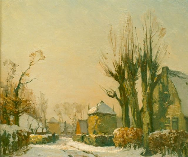 David Schulman | Laren in winter, oil on panel, 45.7 x 55.2 cm, signed l.r.