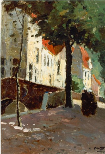 Chris Soer | View of a canal, Brugge, oil on canvas, 24.2 x 28.2 cm, signed l.r.