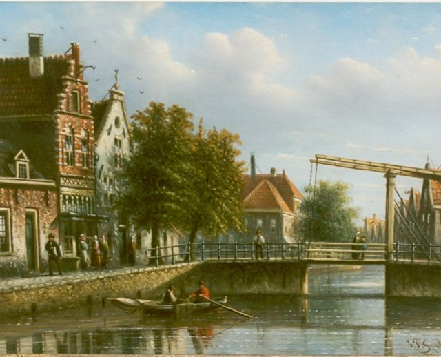 Johannes Franciscus Spohler | City view with draw-bridge, oil on panel, 15.5 x 20.8 cm, signed l.r.