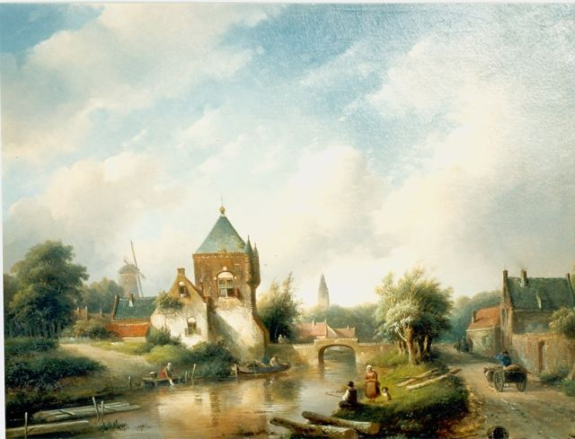 Jan Jacob Spohler | A river landscape in summer, oil on canvas, 53.3 x 68.5 cm, signed l.r. and dated '55