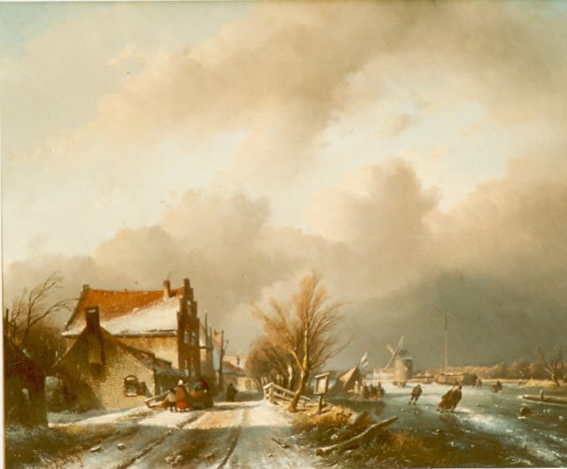 Jan Jacob Spohler | A winter landscape with figures skating on the ice, oil on panel, 48.3 x 61.3 cm, signed l.l.