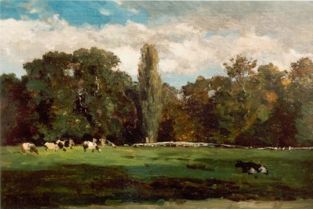 Roelofs W.  | Cows in a meadow, Voorn Utrecht, oil on canvas laid down on panel, 25.7 x 40.5 cm, signed l.l.