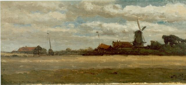 Roelofs W.  | Village along a waterway, oil on canvas laid down on panel, 16.8 x 38.5 cm, signed l.r.