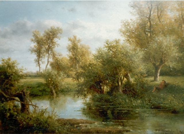 Roelofs W.  | Angler in a forest landscape, oil on panel, 25.0 x 35.5 cm, signed l.r. and dated '51