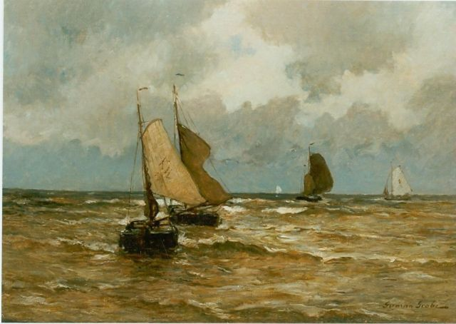 German Grobe | Coastal scene with sailing boats, oil on canvas, 60.0 x 80.0 cm, signed l.r.