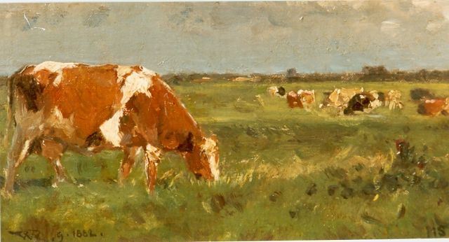 Roelofs W.  | Cows in a meadow, oil on panel, 11.2 x 20.4 cm, signed l.r. and l.l. and dated 1882