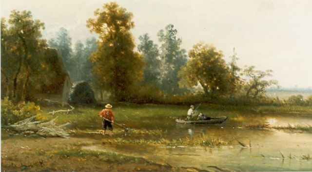 Roelofs W.  | Anglers in a river landscape, oil on panel, 25.0 x 35.5 cm, signed l.l.