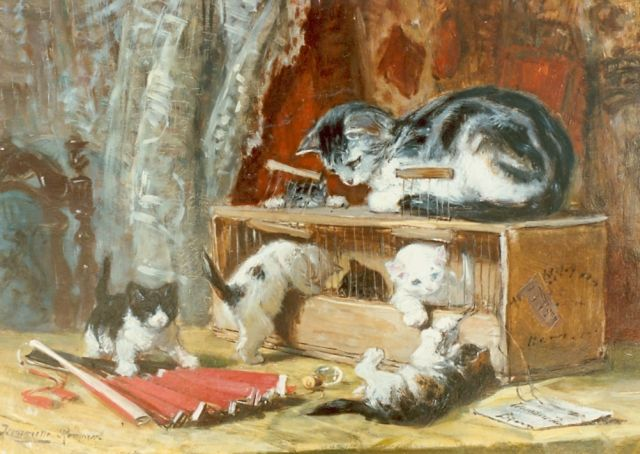Henriette Ronner-Knip | Kittens playing, oil on canvas laid down on panel, 34.0 x 50.0 cm, signed l.l.