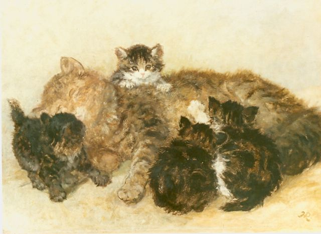 Henriette Ronner-Knip | Mother's proud, oil on panel, 34.9 x 46.1 cm, signed l.r. with monogram
