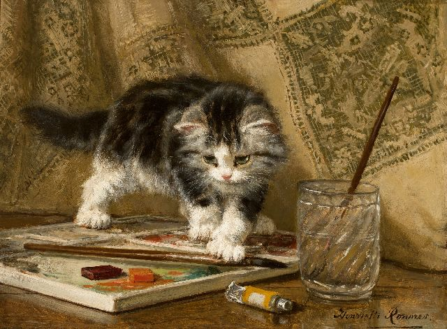 Henriette Ronner-Knip | Kitten at play, oil on canvas laid down on panel, 24.0 x 32.1 cm, signed l.r.