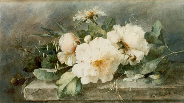 Margaretha Roosenboom | Peonies on a marble ledge, watercolour on paper, 39.5 x 74.5 cm, signed l.r.