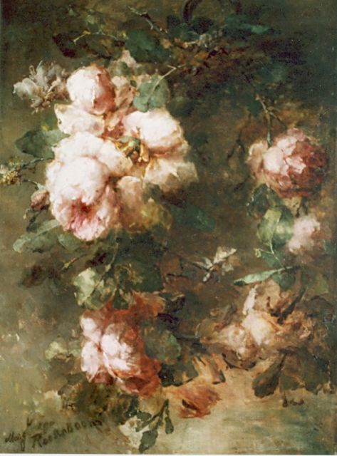 Margaretha Roosenboom | Pink roses, oil on canvas, 68.0 x 48.5 cm, signed l.l. and dated '90