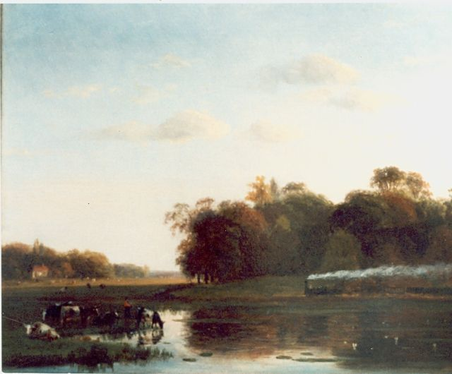 Nicolaas Johannes Roosenboom | Landscape with steam train, oil on panel, 35.5 x 29.5 cm, signed l.l.