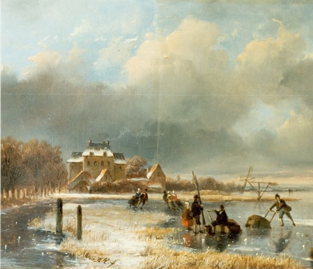 Nicolaas Johannes Roosenboom | Skaters on a frozen waterway, oil on panel, 18.7 x 23.0 cm, signed m.c. with monogram