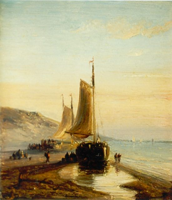 Nicolaas Johannes Roosenboom | Beached boats, Scheveningen, oil on panel, 11.0 x 9.0 cm, signed on the reverse