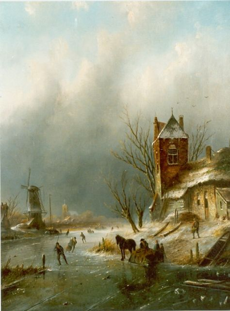 Jacob Jan Coenraad Spohler | A winter landscape with skaters on the ice, oil on canvas, 43.8 x 34.7 cm, signed l.l.