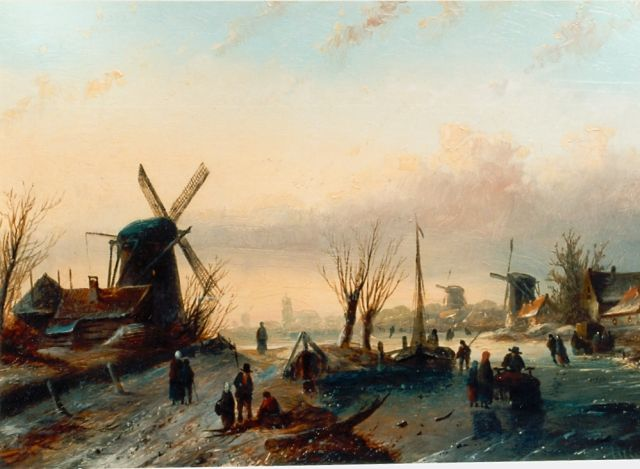 Jacob Jan Coenraad Spohler | Skaters on the ice, with a town in the distance, oil on panel, 24.0 x 34.0 cm, signed l.r.