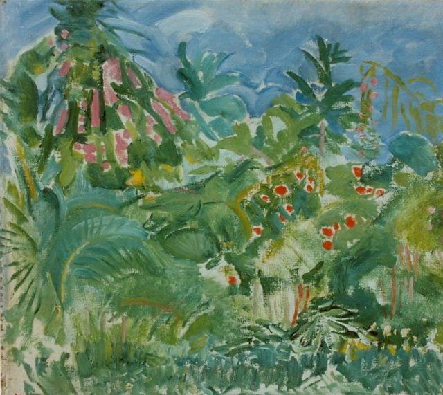 Adriaan Herman Gouwe | A garden, Tahiti, oil on canvas laid down on panel, 34.0 x 38.7 cm, signed l.l.