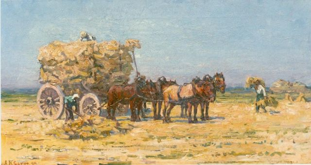 Adriaan Herman Gouwe | Haymaking, oil on canvas, 33.8 x 62.9 cm, signed l.l. and dated 1914