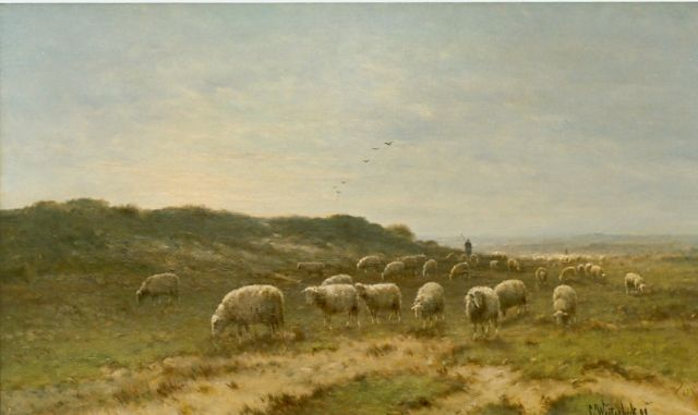 Cornelis Westerbeek | A shepherd and flock, oil on canvas, 60.0 x 100.0 cm, signed l.r. and dated '99
