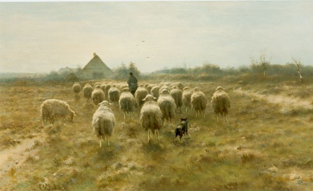 Cornelis Westerbeek | A shepherd and flock, oil on panel, 60.0 x 105.0 cm, signed l.l.