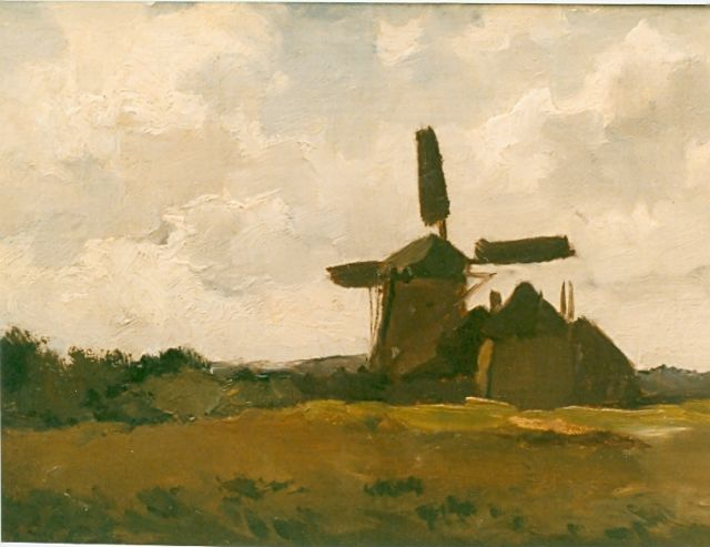 Chris van der Windt | Landscape with mill, oil on canvas laid down on panel, 22.2 x 28.3 cm, signed l.l.