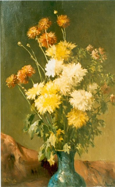 Chris van der Windt | Bouquet of chrysanthemum, oil on canvas, 60.4 x 40.0 cm, signed l.l.