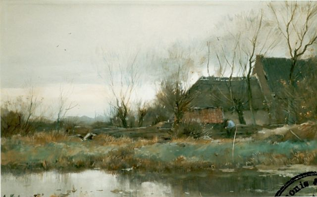Chris van der Windt | Farm in a landscape, watercolour on paper, 37.3 x 63.0 cm, signed l.r.