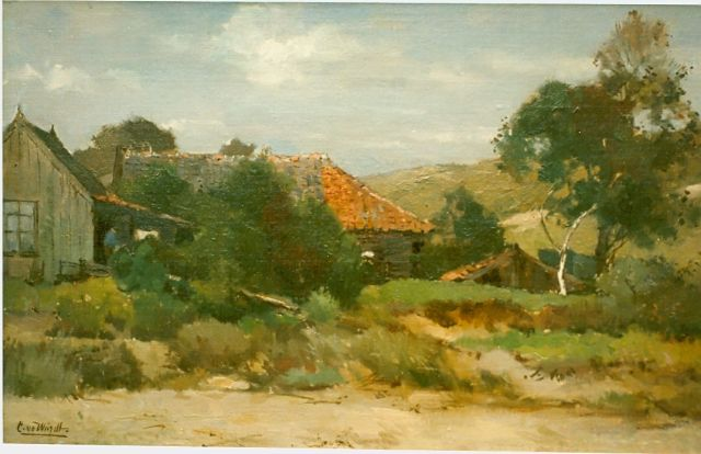 Chris van der Windt | Farmstead, oil on canvas, 31.8 x 50.7 cm, signed l.l.
