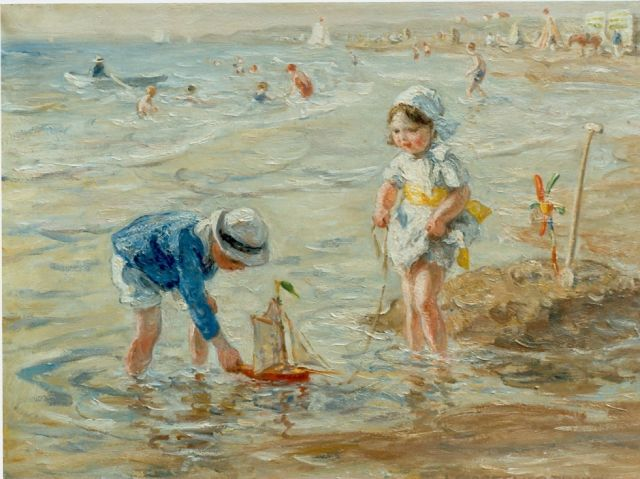 Jan Zoetelief Tromp | Children playing on the beach, oil on canvas, 30.0 x 40.0 cm, signed l.r.