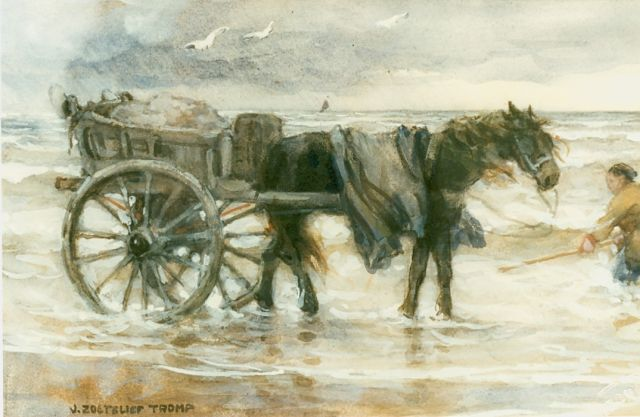 Jan Zoetelief Tromp | Gathering kelp, watercolour on paper, 22.0 x 35.0 cm, signed l.l.