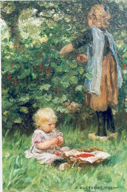 Jan Zoetelief Tromp | Picking berries, oil on canvas, 26.7 x 18.9 cm, signed l.r.
