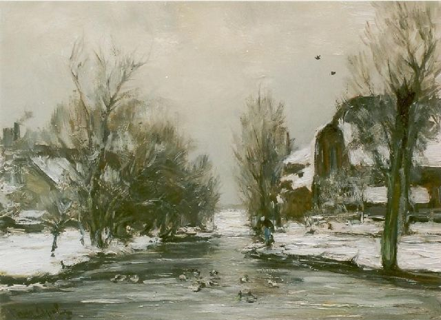 Louis Apol | Winter in Voorschoten, oil on canvas, 30.0 x 40.0 cm, signed l.l.