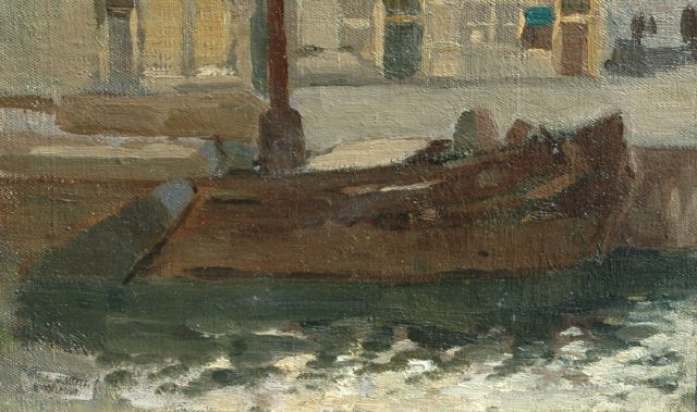 Willem Johannes Schütz | A moored barge, oil on canvas laid down on panel, 16.5 x 26.5 cm, signed with studio stamp