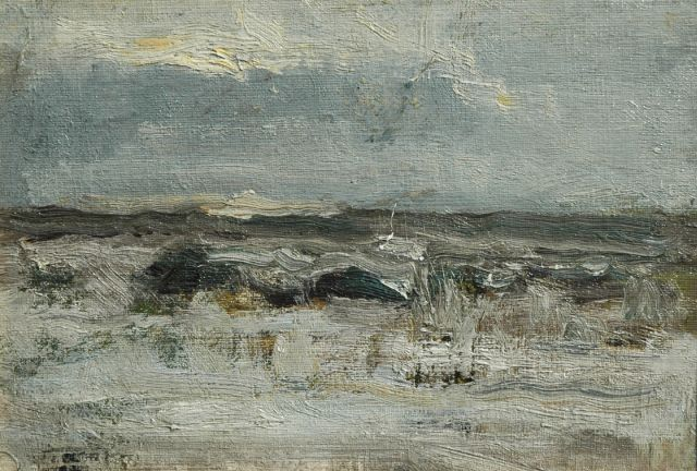 Willem Johannes Schütz | Seascape, oil on canvas laid down on panel, 16.6 x 23.8 cm, signed with studiostamp