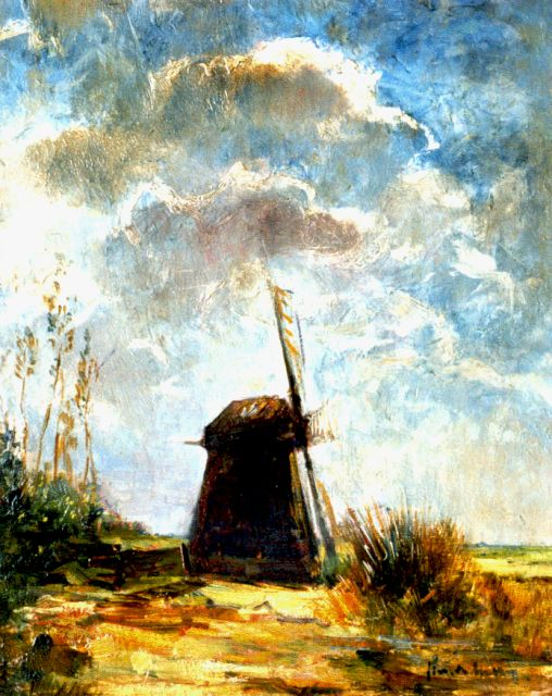 Simon Willem Maris | A windmill in a polder landscape, oil on panel, 39.9 x 31.6 cm, signed l.r.