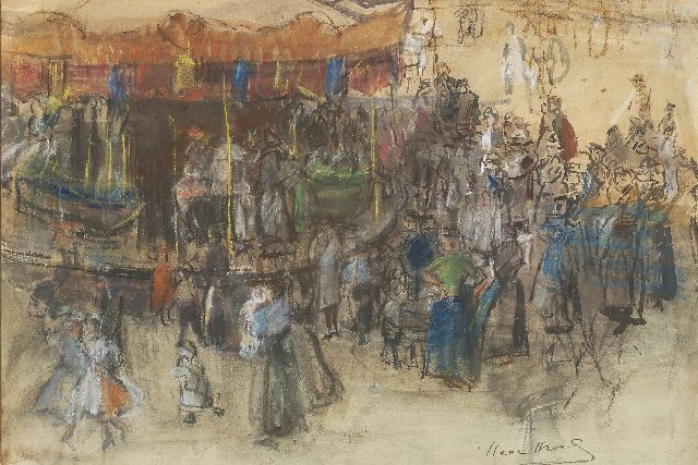 Israels I.L.  | Merry-go-round, Paris, watercolour, pastel and charcoal on paper, 48.5 x 70.8 cm, signed l.r. and painted between 1904-1906