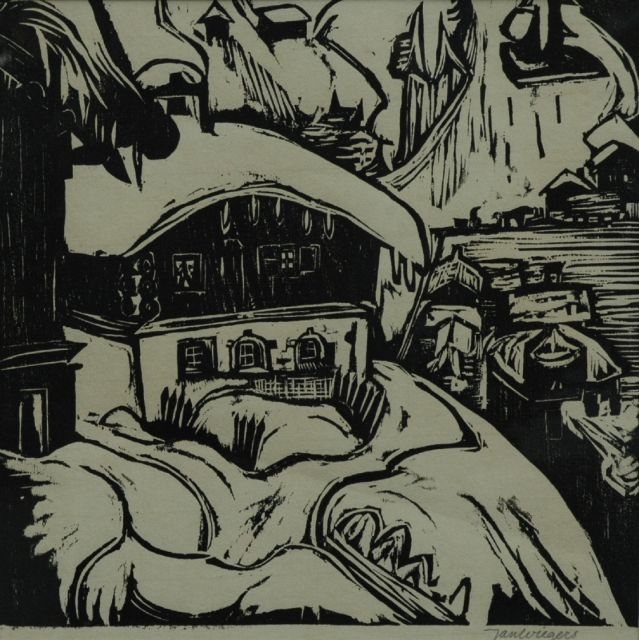 Wiegers J.  | The house of Ernst Ludwig Kirchner, Davos, woodcut on paper, 29.5 x 29.5 cm, signed l.r. in pencil