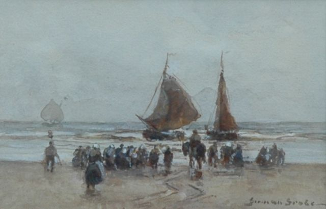 German Grobe | Return of the fishing fleet, watercolour on paper, 9.5 x 14.0 cm, signed l.r.