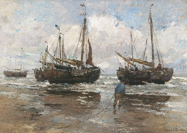 German Grobe | Fishing boats on the beach, oil on canvas laid down on board, 43.9 x 62.8 cm, signed l.r.