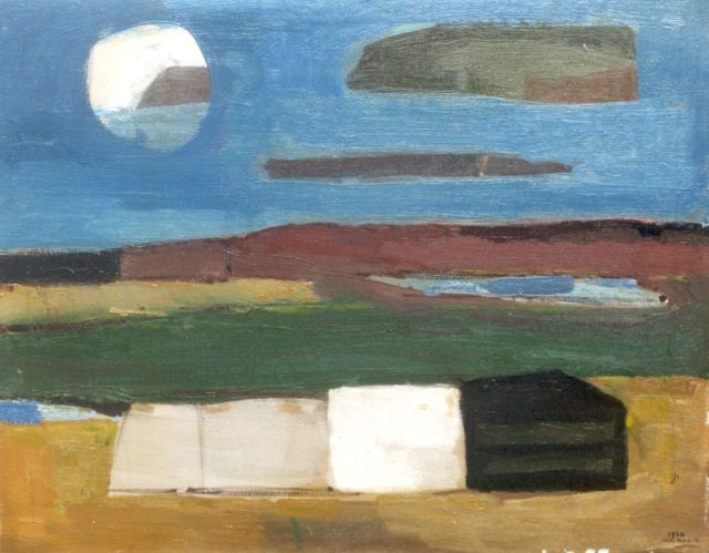 Jan Kagie | Moon-scape, oil on canvas, 59.5 x 75.2 cm, signed l.r. and dated 1960