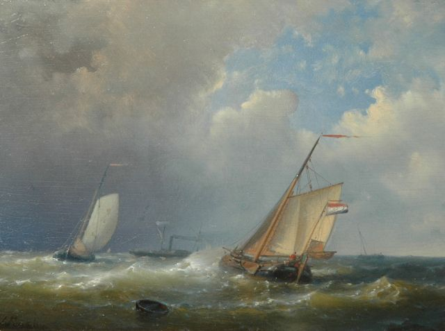Abraham Hulk | Dutch ships sailing in choppy seas, oil on panel, 18.0 x 24.6 cm, signed l.l.
