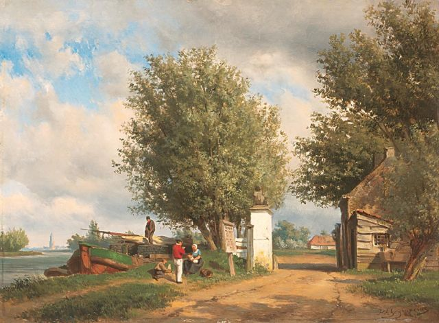 Piet Schipperus | A summer afternoon along the water near Rhenen, oil on panel, 40.6 x 54.8 cm, signed l.r.