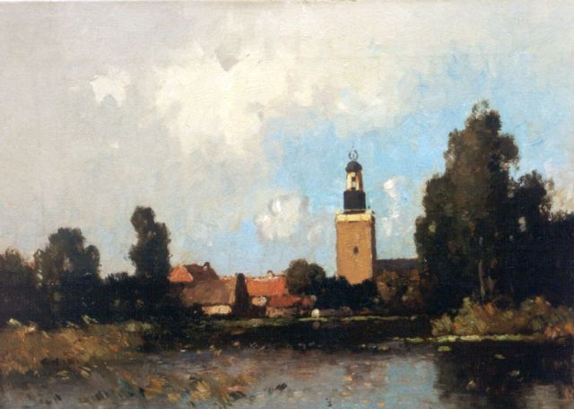 Aris Knikker | View of Nieuwkoop, oil on canvas, 30.2 x 40.2 cm, signed l.r. with pseudonym W. Markenstein
