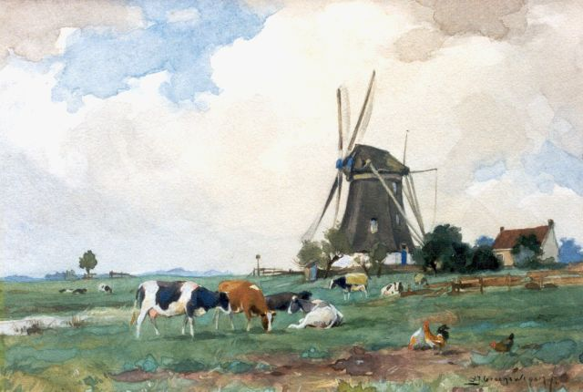 Adrianus Johannes Groenewegen | Cows and chickens near a windmill, watercolour on paper, 18.3 x 26.3 cm, signed l.r.